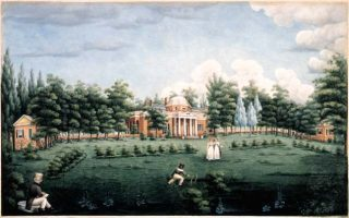 <p>Monticello and Garden by Jane Pitford Braddick Peticolas, 1825 (Thomas Jefferson Foundation)</p>