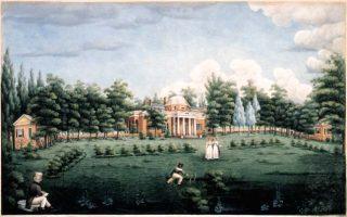 <p>Monticello and Garden by Jane Pitford Braddick Peticolas, 1825 (Thomas Jefferson Foundation)</p>