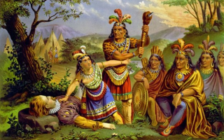 "<p>Mythologized version of Pocahontas saving John Smith. Based on the engraving ""Smith Rescued by Pocahontas,"" by Christian Inger, 1870, Virginia Historical Society.</p>"