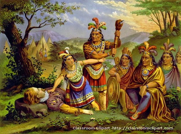 """<p>Mythologized version of Pocahontas saving John Smith. Based on the engraving """"Smith Rescued by Pocahontas,"""" by Christian Inger, 1870, Virginia Historical Society.>"""