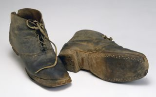 <p>Brogan-style shoes worn by private Page Lapham of 2nd Company,<br /> Washington Artillery of New Orleans.<br /> COURTESY OF THE MUSEUM OF THE CONFEDERACY</p>