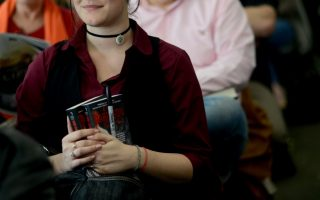 <p>An attendee at a fantasy and science fiction panel in 2013. Photo by Pat Jarrett.</p>