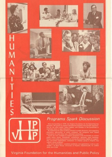 <p>A poster from 1977 encourages nonprofit organizations, institutions, and citizens' groups in Virginia to submit grant proposals to the Virginia Foundation for the Humanities and Public Policy.>