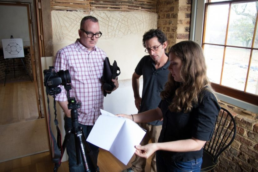 Matthew Gibson (center) captures images of Poplar Forest for use on Google Street View