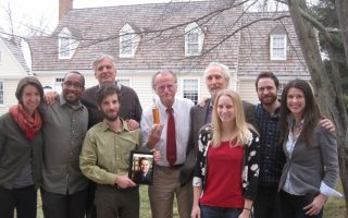 In March 2014, the BackStory team posed with a Zeitfunk trophy, awarded by public radio distributor PRX. From left to right: Jamal Millner, Brian Balogh, Tony Field, Ed Ayers (on tablet) Peter Onuf, Andrew Wyndham, Nina Earnest, Andrew Parsons, and Emily Charnock. Photograph by Jane Kulow.