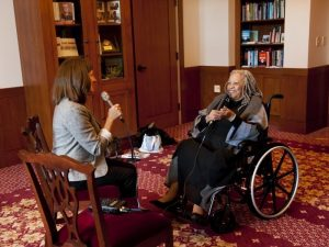 With Good Reason host Sarah McConnell interviewing Toni Morrison. Photo by Michael Kiernan.