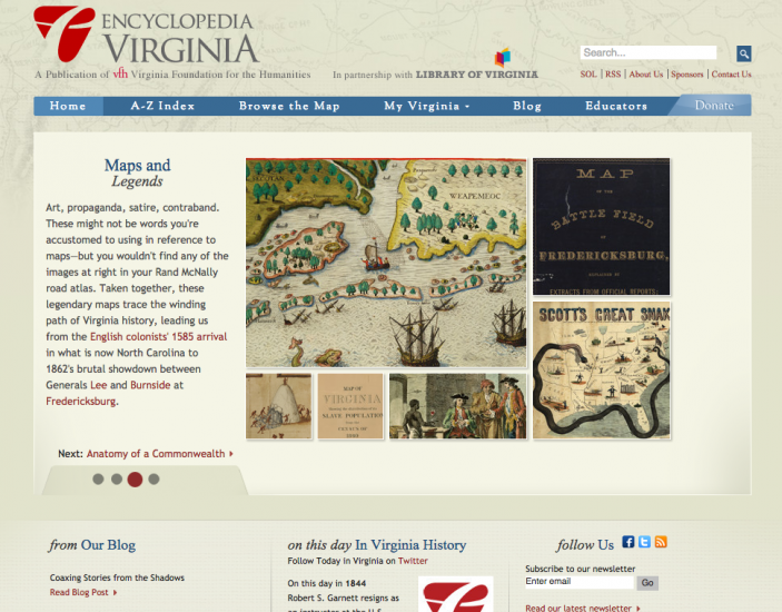 Front page of Encyclopedia Virginia