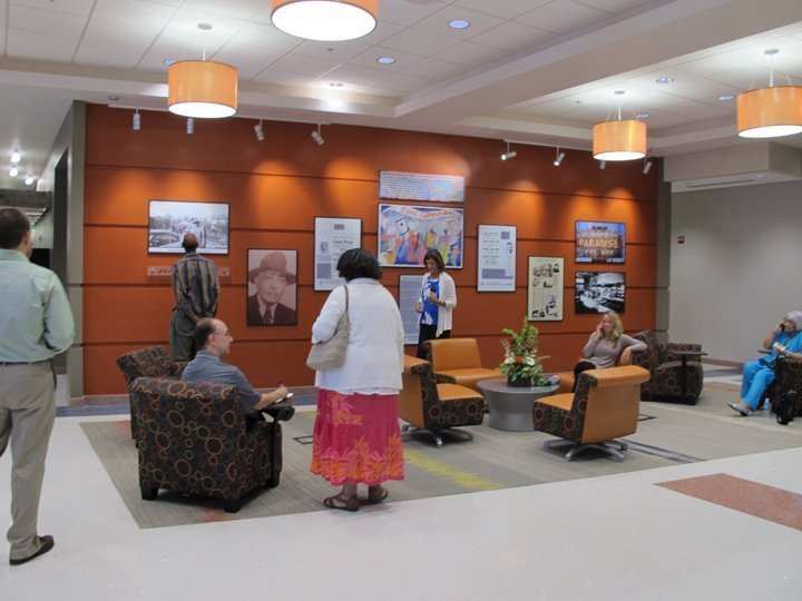 Just inside the main lobby, a Living History Wall reminds visitors to the new building that Baldwin Block used to function as the social and commercial center of the African American community in Martinsville.