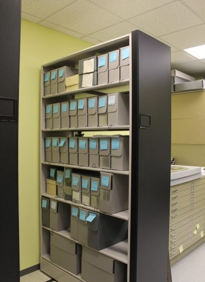 Collections storage after relocation and reorganization. Photo courtesy the Manassas Museum System.
