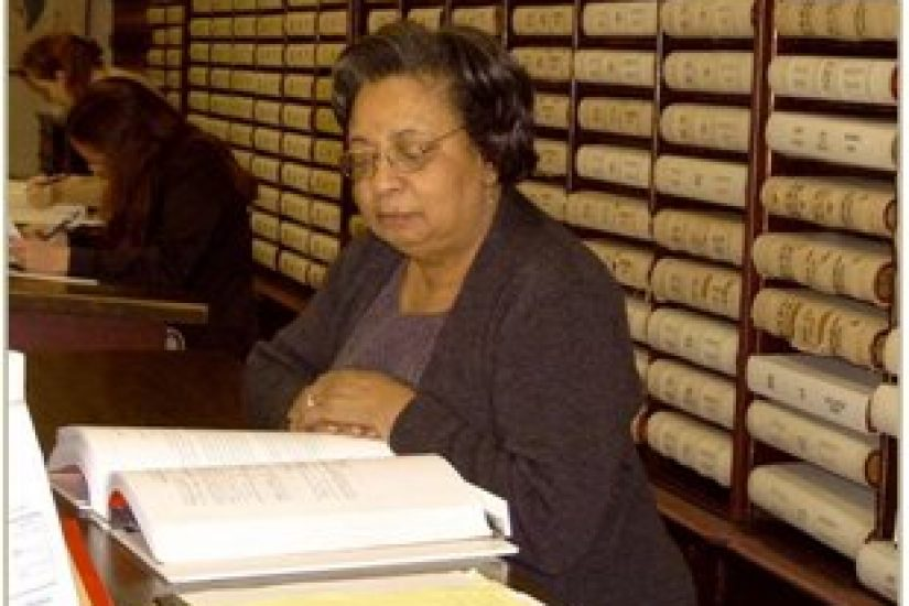 Frances Latimer in the Northampton County, Virginia Clerk's Office.