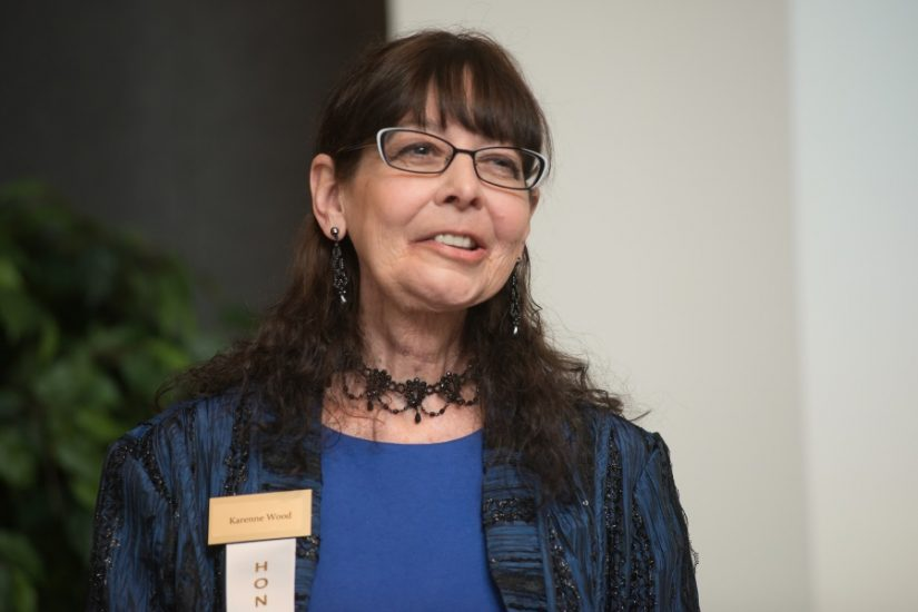 Karenne Wood speaks at the LVA Virginia Women in History honor ceremony. Photo Credit to Pierre Courtois from Library of Virginia