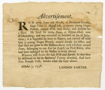 A runaway slave advertisement from Virginia, 1758. Courtesy of Library of Virginia