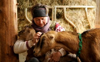 Gail Hobbs-Page and her first goat, Star.