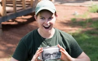 Ally Campo an Archaeologist at Montpelier with EV's Google Cardboard