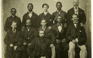 In 1867, the U.S. government prepared to try former Confederate president Jefferson Davis for treason. The U.S. Circuit Court for the District of Virginia assembled a pool of twenty-four potential jurors—some white, some African American—of whom eleven are pictured above. These men were likely the first African Americans to be called to jury duty in Virginia. The trial, though, never went forward. Davis was released on bail on May 13, 1867, and the charges against him dropped in 1869.