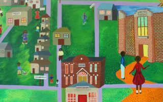 """Detail of a mural that is part of """"Threads of History: Conversations with a Community"""""""
