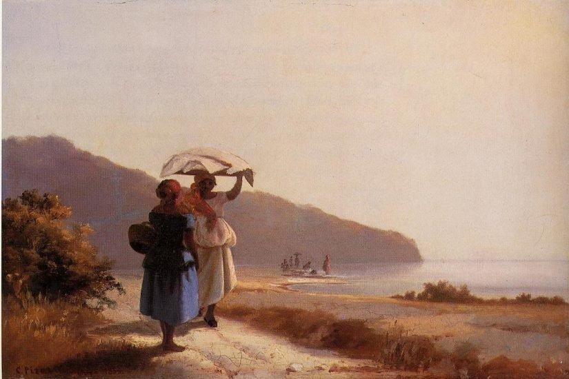 "Camille Pissarro, ""Women Chatting by the Sea,"" 1856"