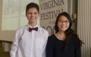 2017 Letters About Literature winners Samantha Kiss (Chesapeake, VA; left) and Jocelyn Yee (Ashburn, VA; right) at the 2017 Virginia Festival of the Book opening ceremony on 3/22/17. Photo by Pat Jarrett.