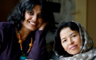 Sushmita Mazumdar (left) and Sughra Hussainy.  Photo by Susan Sterner.