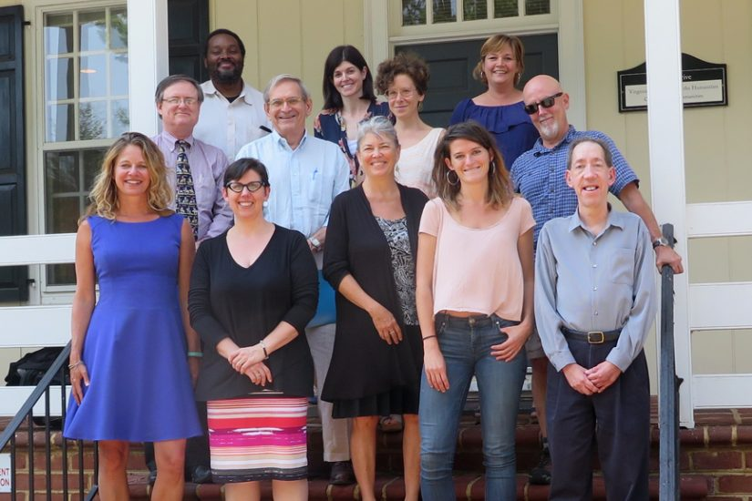 Front row, from left to right: Kristen Green; Lynn Rainville; Jeanne Siler, Fellowships program director; Lulu Miller; John Deal, LVA Public Services and Outreach; second row, Gregg Kimball, LVA, director, Public Services and Outreach; Don DeBats; Sarah Milov; Earl Swift; third row, Keith Clark, Nicole Maurantonio; Alison Bell