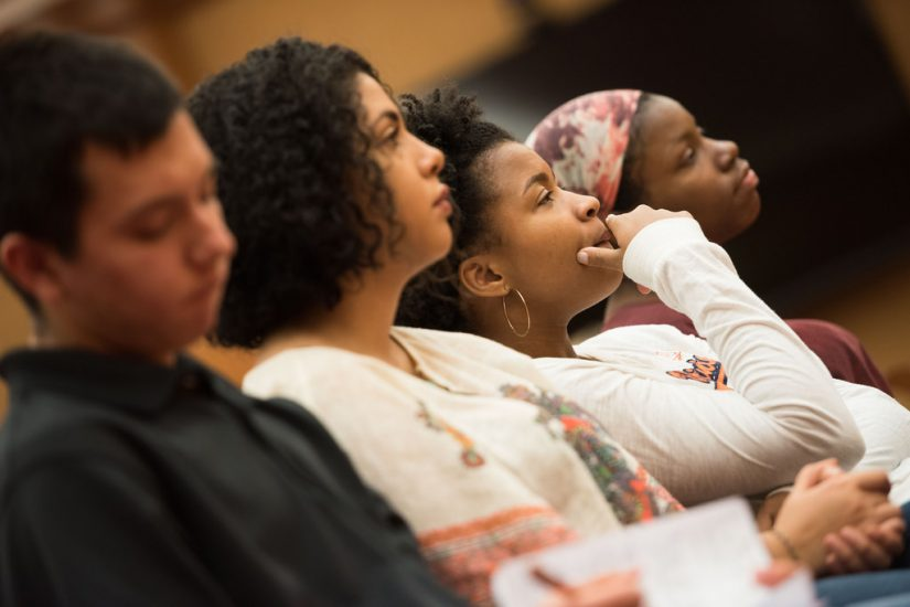 Students attend a master class by Civil Rights icon Ruby Sales at UVA  Photo by Stephanie Gross.