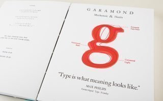 T hese specimen pages of Courier (left) and Garamond (right) typefaces are featured in Speaking in Faces. Photo by Stacey Evans.