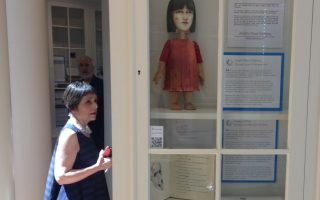 Katherine McNamara at the exhibit opening