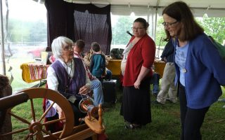 Evelyn Lahman spins yarn during the 2017 Virginia Folklife Apprenticeship Showcase