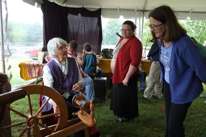Evelyn Lahman spins yarn during the 2017 Virginia Folklife Apprenticeship Showcase