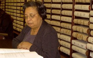 Frances Latimer in the archives at the Northampton County Courthouse, where she did much of her research.