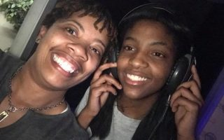 Dyvonne King (left) and Jahonna Scott (right) recording an original song about the Unsung Heroes of Historic Brookland Park.