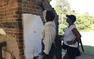 Joseph McGill and Dr. Lauranett Lee on the top floor of Menokin, identifying fingerprints in the bricks. The Menokin Foundation was recently awarded a grant from Virginia Humanities for research focusing on the lives of individuals who were enslaved at Menokin Plantation in Virginia's Northern Neck. Image courtesy Menokin Foundation
