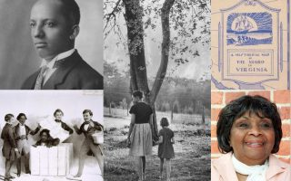 Clockwise from top left: Carter Woodson, Mildred Loving with her daughter Peggy, illustration from 'The Negro in Virginia', Irene Morgan, Henry Box Brown. See Encyclopedia Virginia for sources