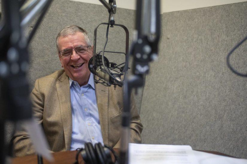 Clark Hoyt in our radio studio. Photo by Pat Jarrett