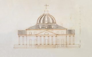 Thomas Jefferson (American, 1743–1826) Proposed sketch for the President's House, elevation, 1792 Pen and ink with gray wash Courtesy of the Maryland Historical Society, 1976.88.6