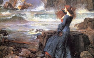 "Painting by J. W. Waterhouse: ""Miranda, a character in 'The Tempest', a play by William Shakespeare"""