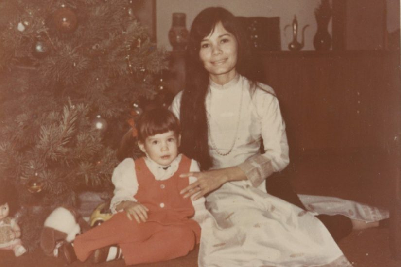 Kim O'Connell and her mother pose for a family photo in front of a Christmas tree. Photo courtesy Kim O'Connell