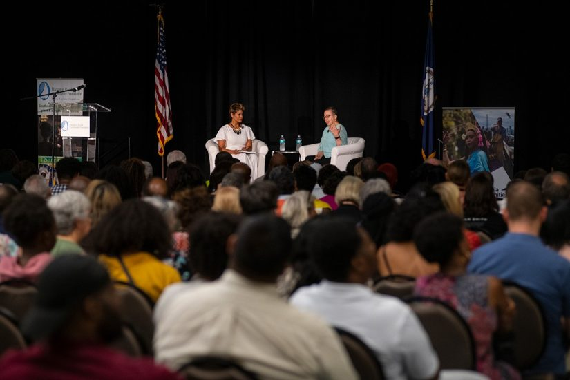 Dr. Beverly D. Tatum spoke with April Woodard at the Chesapeake Conference Center in Chesapeake, Virginia on Thursday, 5/30/19. The event was the first in a multi-year partnership between Virginia Humanities and the Hampton Roads Community Foundation. Photo by Pat Jarrett, Virginia Humanities