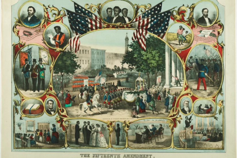 This commemorative print celebrates the passage of the Fifteenth Amendment to the U. S. Constitution. - Courtesy Library of Congress