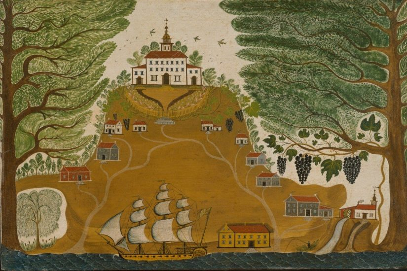 This early nineteenth-century folk painting by an unknown artist, titled The Plantation, depicts a grand plantation mansion atop a hill. Image courtesy Metropolitan Museum of Art