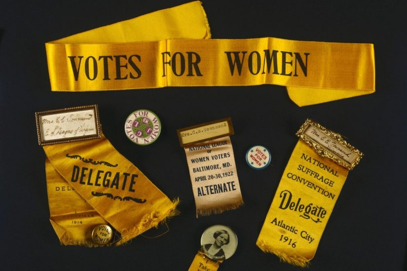 These woman suffrage buttons, ribbons, and name badges date from 1909 to 1922 and are part of the Equal Suffrage League of Virginia collection at the Library of Virginia. Ida Mae Thompson, longtime secretary of the league office in Richmond, collected memorabilia and papers dealing with the organization and donated them to the library in 1942. Photo courtesy of Library of Virginia